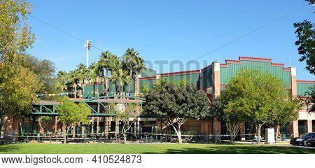 SCOTTSDALE, ARIZONA - DECEMBER 9, 2016: Scottsdale Stadium is the Spring Training home of the San Francisco Giants of  Major League Baseballs National League.