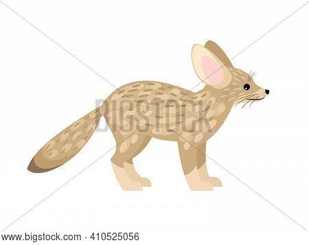 Cute Little Fox. Cartoon Fennec Fox, Beautiful Foxy Animal Of Desert, Vector Illustration Of Furry E