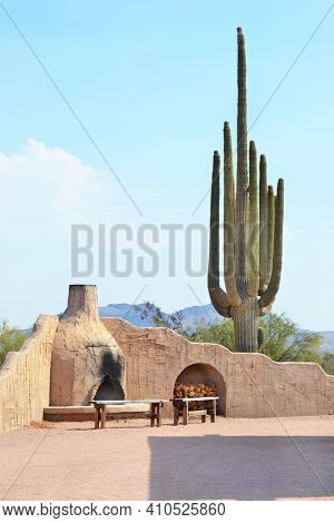 FORT McDOWELL, ARIZONA - JUNE 28, 2011: Rosas Ranch Patio. Rosas Ranch is an intimate outdoor venue packed with Southwestern flavor.