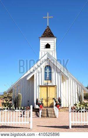 APACHE JUNCTION, ARIZONA - DECEMBER 8, 2016: Closeup of the Elvis Memorial Chapel. Located at the Superstition Mountain Museum it was featured in the Elvis Presley movie Charro.
