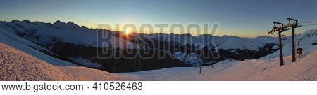 Davos Klosters Jakobshorn Landscape Snow Picture At Winter Time With Beautiful Sunrise