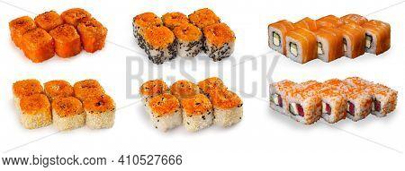 Combination of sushi on white background. Baked spicy: salmon rolls, shrimp rolls, tuna rolls, eel rolls. Uramaki maki sushi. Philadelphia roll uramaki sushi