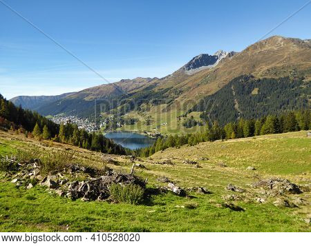 Davos Klosters Switzerland, Hike Next To Lake Of Davos, Swiss Beautiful Landscape Nature