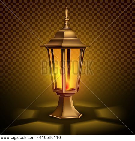 Strange, Vintage Retro Lantern With A Candle. 3d Realistic Illustration. Isolated On Transparent Bac