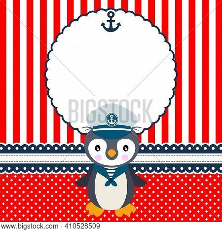 Scalable Vectorial Representing A Digital Scrapbook Layout Photo Frames With Cute Sailor Penguin, El