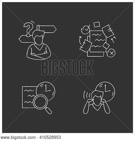 Focus Mind Chalk Icons Set. Filled Flat Signs Collection For Attention Control, Task And Goal Settin