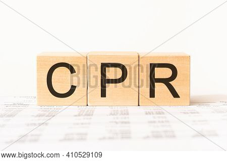 Wooden Small Cubes With Letters Cpr Isolated On White Background With Copy Space Available