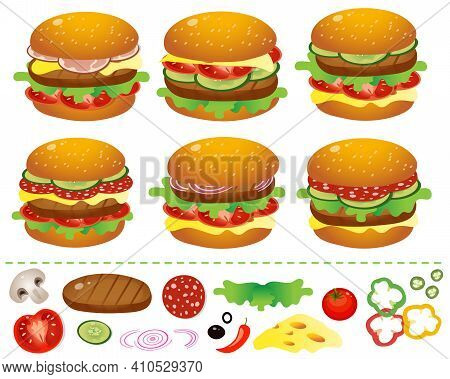 Hamburgers Or Cheeseburgers With Tomatoes, Salami, Cutlet, Beef, Salad And Cheese On A White Backgro