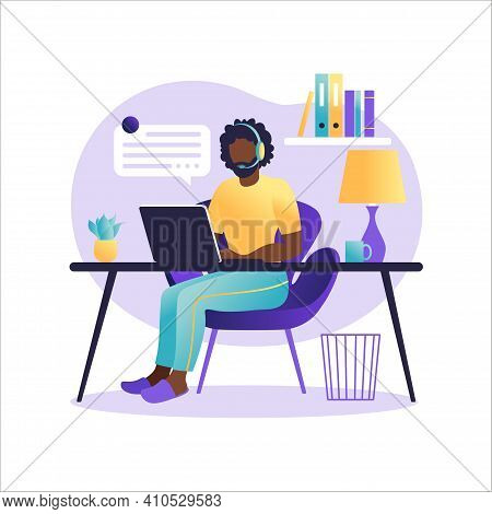 Online Assistant Landing Page. African American Man With Headphones With Computer. Concept Illustrat