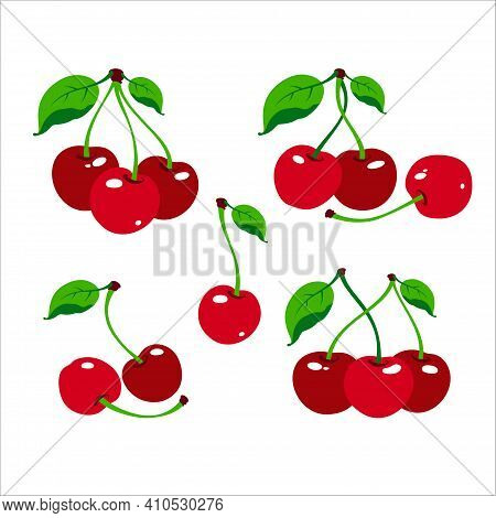 Cherry Logo. Cherry Berry With Leaves. Isolated Berries On White Background. Collection Of Different