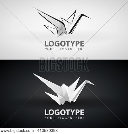 Origami Paper Crane Bird Grayscale Icon Or Logo Design. White Isolated Logo Origami Abstract Polygon