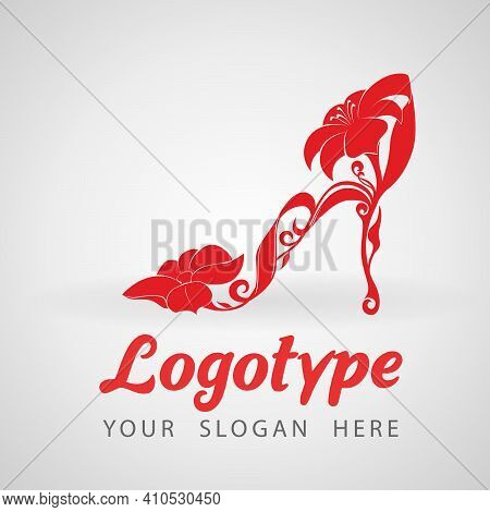 Red High Heel Shoes With Flowers. Dress Shoes, Floral Pattern. Isolated On A White Background - Vect