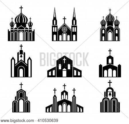 Cathedrals, Temples And Churches Set Icons. Religious Architectural Buildings. Collection Of Catholi