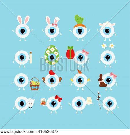 Easter Cute Eye Ball Icon Set. Ophthalmology Eyeball Character Cake, Bunny Ears, Willow, Curd Easter