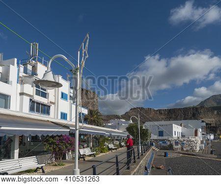 Puerto De Las Nieves, Agaete, Gran Canaria, Canary Islands, Spain December 17, 2020: Street By Sea W