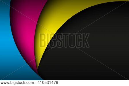 Abstract Cmyk Wavy Background. Modern Corporate Desing. Overlap Sheets Of Paper In Cmyk Colors