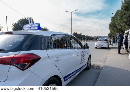 Kemerburgaz, Istanbul, Turkey - 02.18.2021: Cars For Driving Test Parked For Learner Drivers In Test