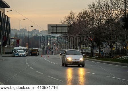 Beyoglu, Istanbul, Turkey - 02.18.2021: Traffic Cop Car Waiting On Left Side Of The Road And Check C