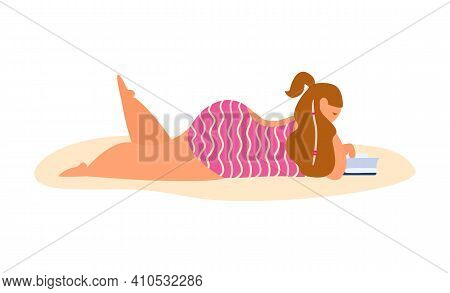 Long Hair Young Chubby Woman In Swimsuit Laying And Reading On The Beach. Isolated On White. Flat Ve