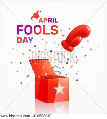 Fools Day April Realistic Composition With Boxing Glove Jumping Out Of Box With Confetti And Text Ve