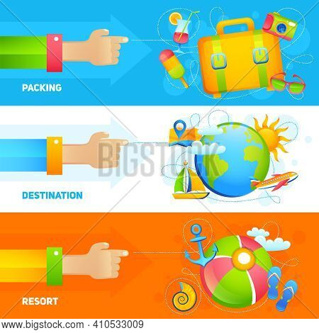 Summer Vacation Horizontal Banner Set With Packing Destination Resort Elements Isolated Vector Illus