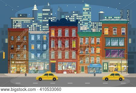 Vector Illustration Of Night Manhattan With Retro Houses With Shops And Taxis And Skyscrapers In Bac