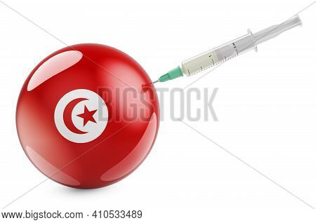 Syringe With Tunisian Flag. Vaccination In Tunisia Concept, 3d Rendering Isolated On White Backgroun