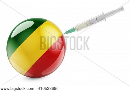 Syringe With Congo Flag. Vaccination In Congo Concept, 3d Rendering Isolated On White Background