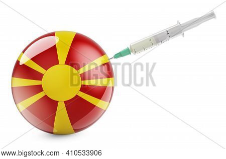 Syringe With Macedonian Flag. Vaccination In Macedonia Concept, 3d Rendering Isolated On White Backg
