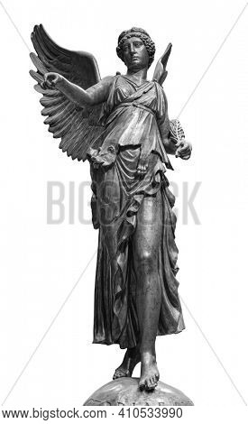 Bronze statue of a Winged Victory. Frontal view of a Statue of the goddess Nike, isolated on white background by clipping path