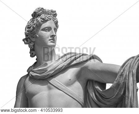 God Apollo bust sculpture. Ancient Greek god of Sun and Poetry Plaster copy of a marble statue isolated on white