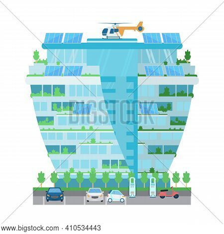 Modern Skyscraper Building With Helicopter On The Roof, Sun Batteries, Plants, Charging Station For