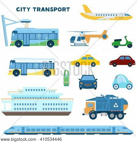 Modern City Transport Set. Electro Bus, Car, Train, Trash Truck, Plain, Helicopter, Scooter, Taxi, C