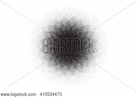 Dotwork Flower Pattern Vector Background. Sand Grain Effect. Star Noise Stipple Dots. Abstract Noise