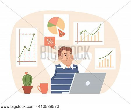 Investment Strategy Concept. Flat Business Man Thinks About Profit Growth On Finance Graph, Chart, D