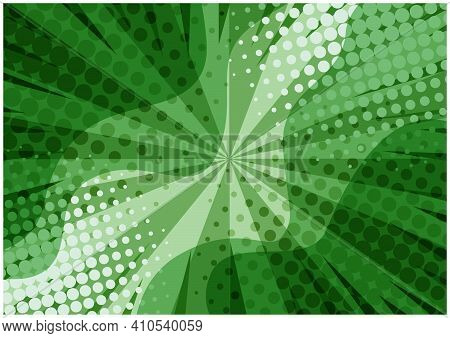 Abstract Green Striped Retro Comic Background With Halftone Corners And Wavy Shapes. Cartoon Eco Col