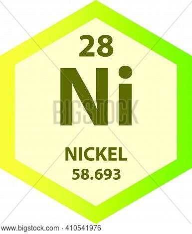Ni Nickel Transition Metal Chemical Element Vector Illustration Diagram, With Atomic Number And Mass