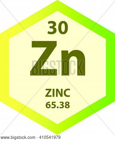 Zn Zinc Transition Metal Chemical Element Vector Illustration Diagram, With Atomic Number And Mass.