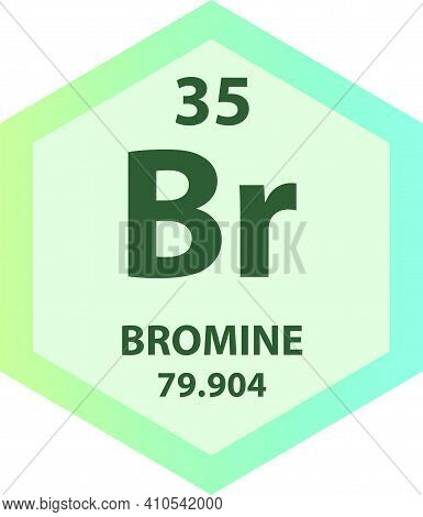Br Bromine Halogen Chemical Element Vector Illustration Diagram, With Atomic Number And Mass. Simple