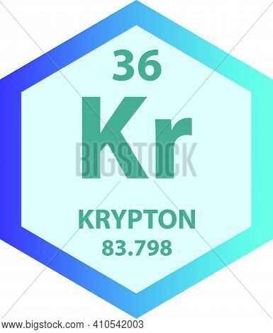 Kr Krypton Noble Gas Chemical Element Vector Illustration Diagram, With Atomic Number And Mass. Simp