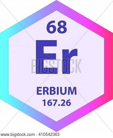 Er Erbium Lanthanide Chemical Element Vector Illustration Diagram, With Atomic Number And Mass. Simp