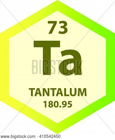 Ta Tantalum Transition Metal Chemical Element Vector Illustration Diagram, With Atomic Number And Ma