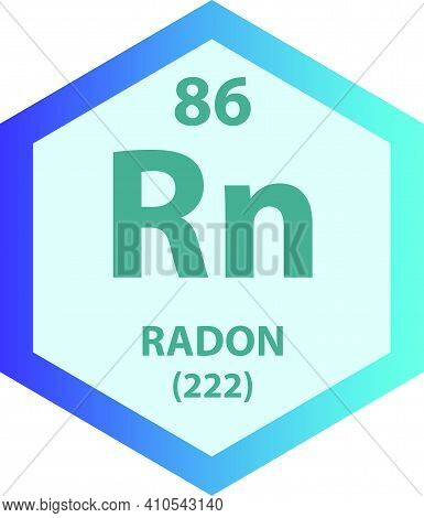 Rn Radon Noble Gas Chemical Element Vector Illustration Diagram, With Atomic Number And Mass. Simple
