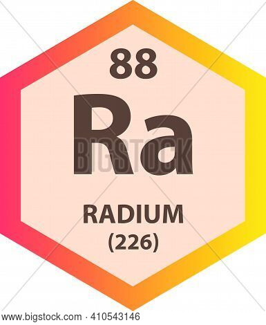 Ra Radium Alkaline Earth Metal Chemical Element Vector Illustration Diagram, With Atomic Number And