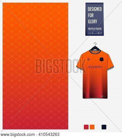 Soccer Jersey Pattern Design. Geometric Pattern On Orange Background For Soccer Jersey, Football Kit