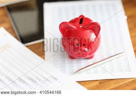 Financial Report And Red Pig Piggy Bank Are On Table. Monthly Tax Deductions Concept