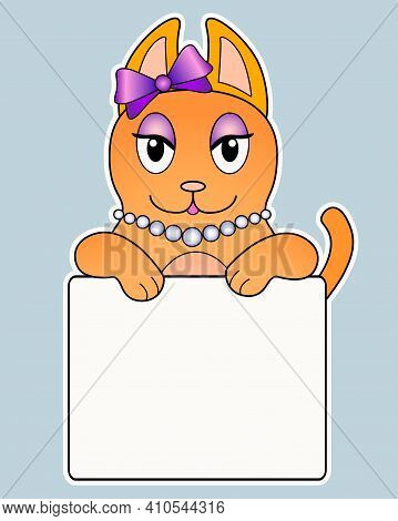 Cute Ginger Kitten Kitten Holding A Sign With Copy Space For Your Text - Vector Full Color Sticker.