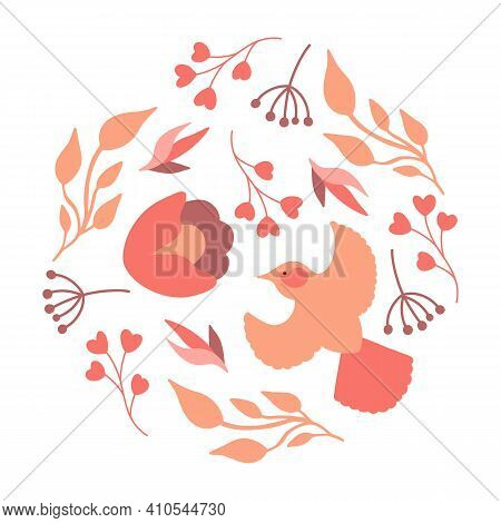 Round Composition With Flowers And Bird In Pastel Color. Vector Arrangements In Circle