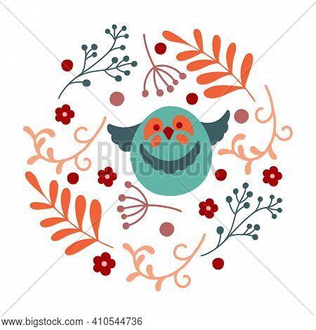 Round Composition With Flowers And Bird. Vector Arrangements In Circle Perfect For Celebration Card