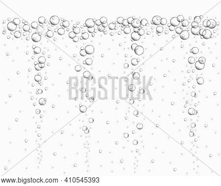 Underwater Air Bubbles Background. Fizzy Drink, Carbonated Water, Soda, Lemonade, Champagne, Beer, S